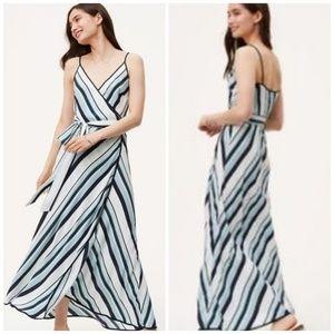 Ann Taylor LOFT striped wrap maxi dress